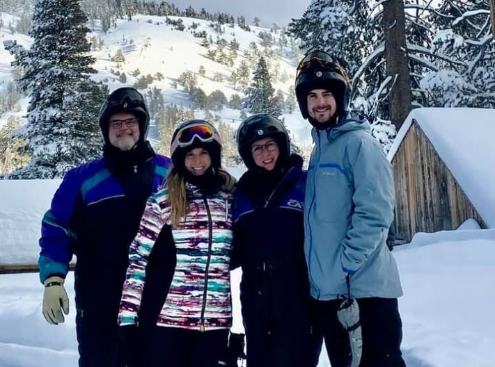 Doctor hoop and his family skiing