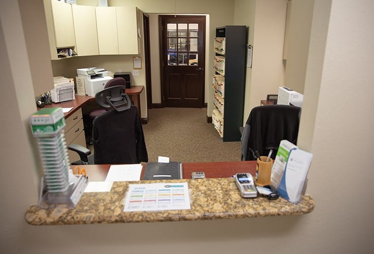 Dental office reception desk